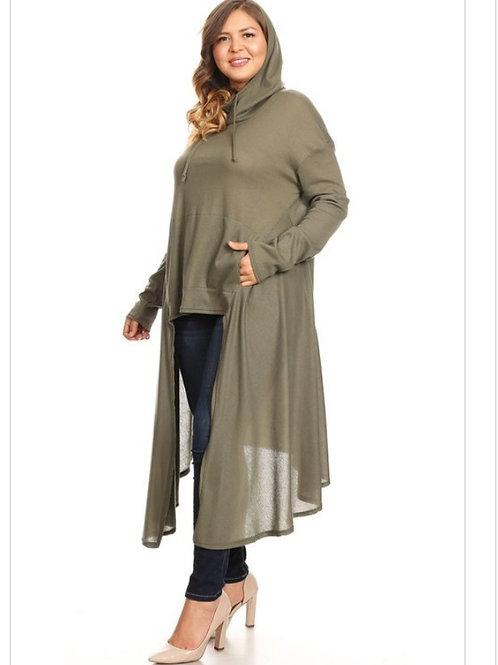 Plus olive hoodie dress