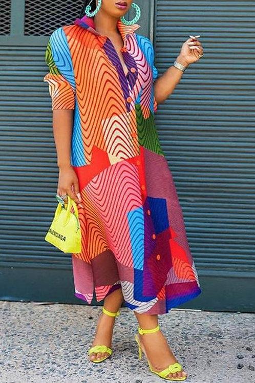 multicolor shirt dress