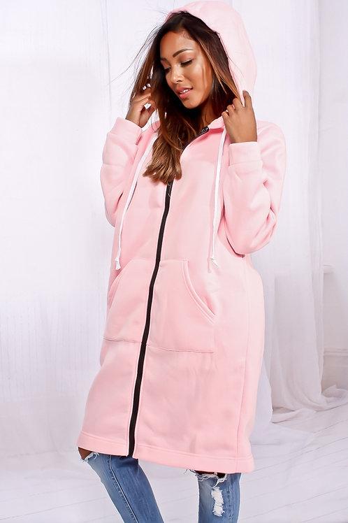 Pink zipper hoodie dress