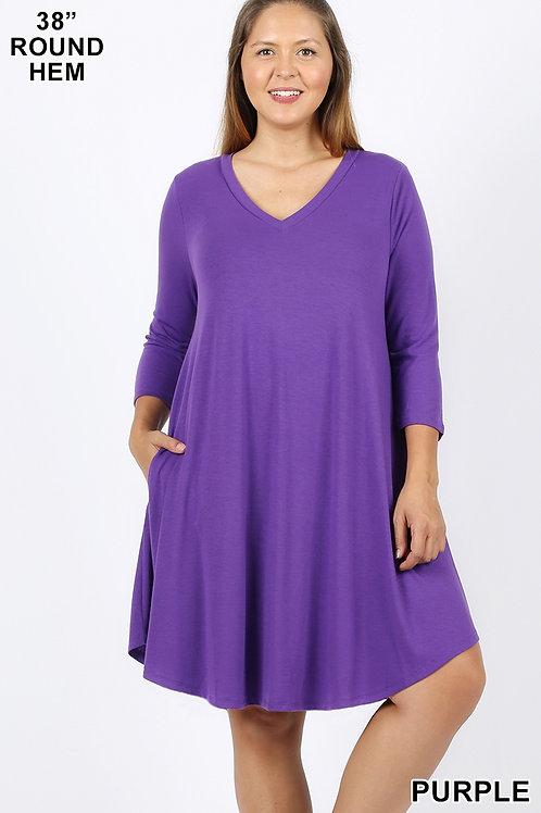 Purple short dress with pockets