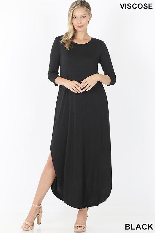 Black long dress with pockets