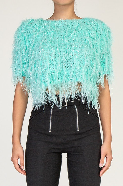 Mint crop shaggy top