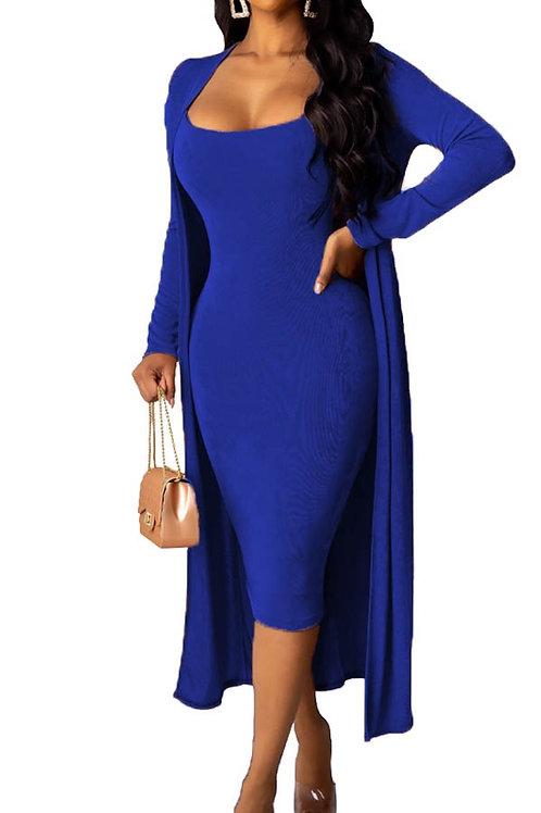 blue dress and cardigan set