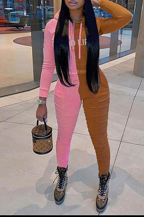 brown and pink pant set