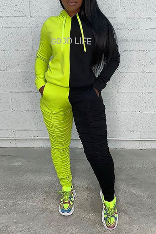 neon and black pant set