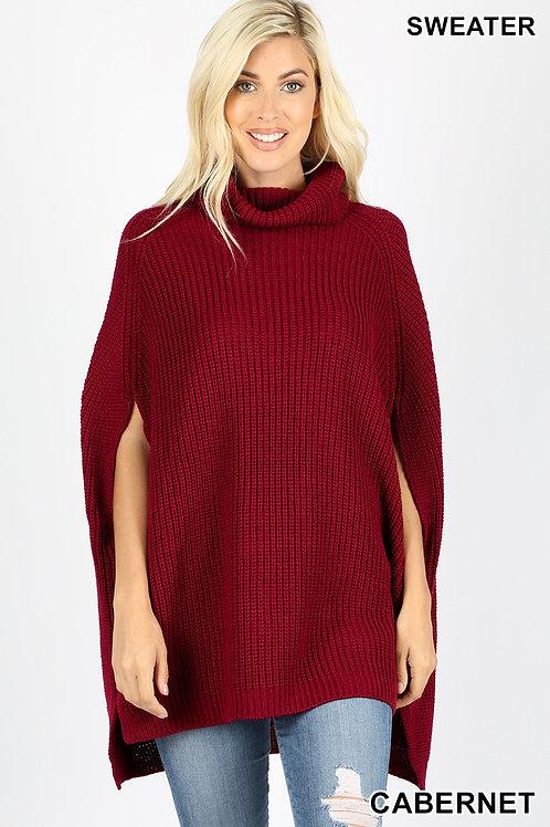 cabernet poncho sweater
