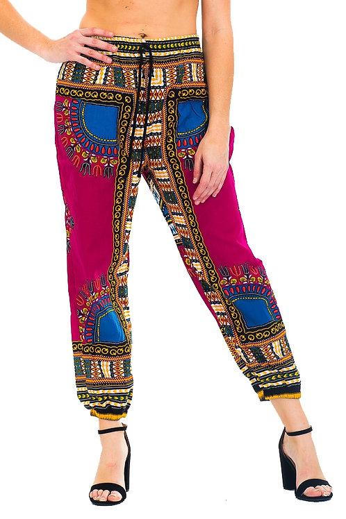 purple print pants