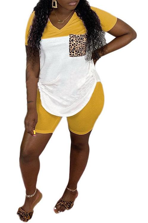 yellow short pant set