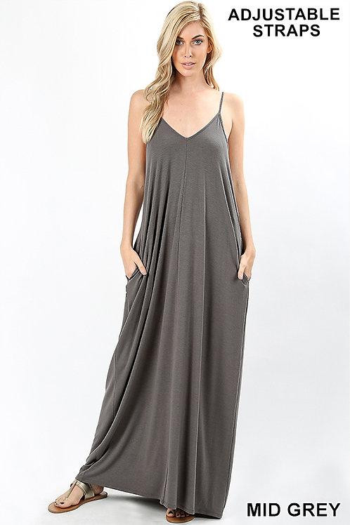 mid grey plus maxi dress