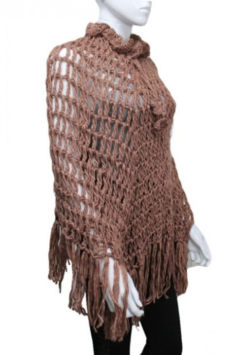 Beige Knitted poncho