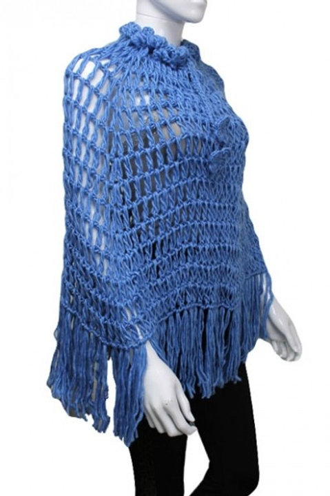 Blue Knitted poncho
