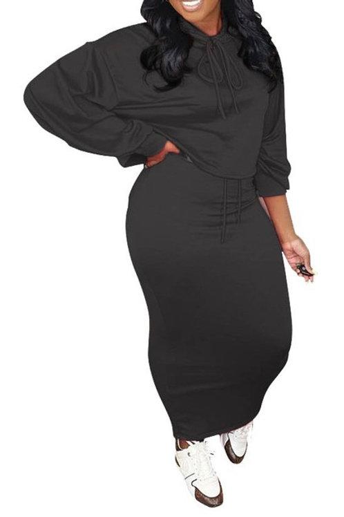 black hoodie skirt set