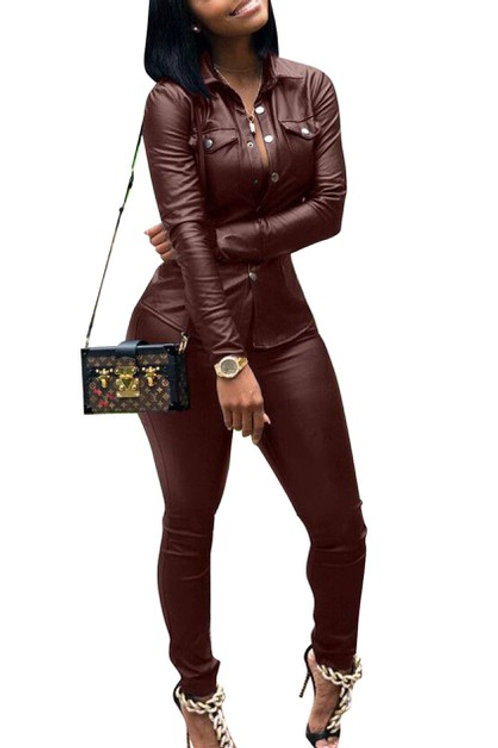 Wine leather pant set