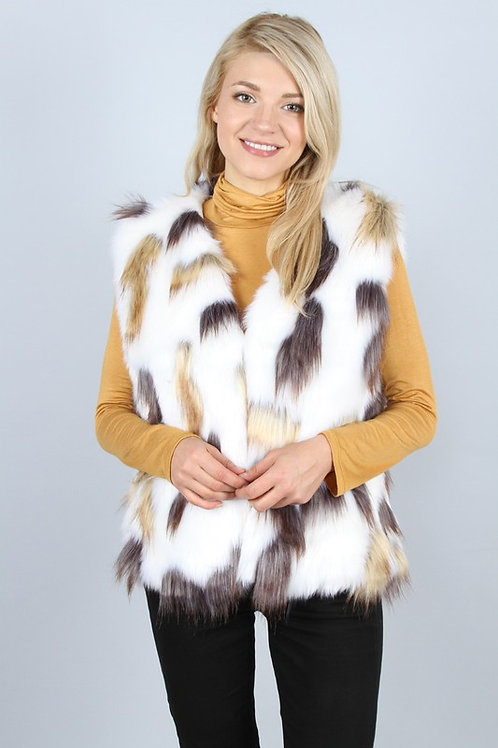 multicolor fur vest