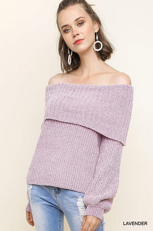 mauve off the shoulder sweater