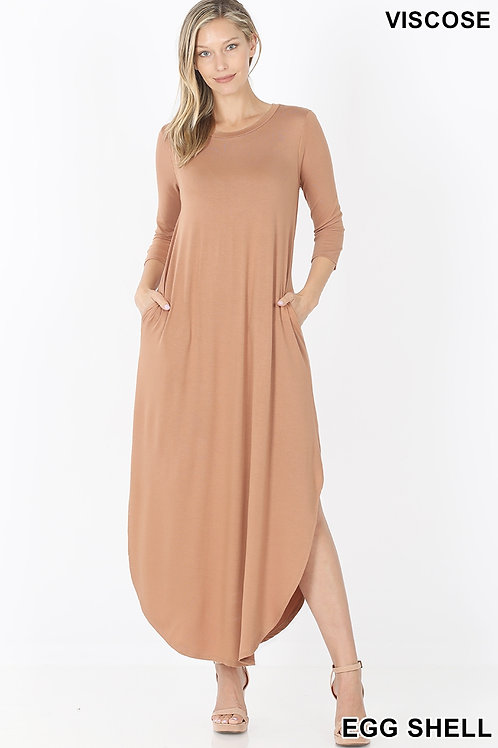 Eggshell long dress with pockets