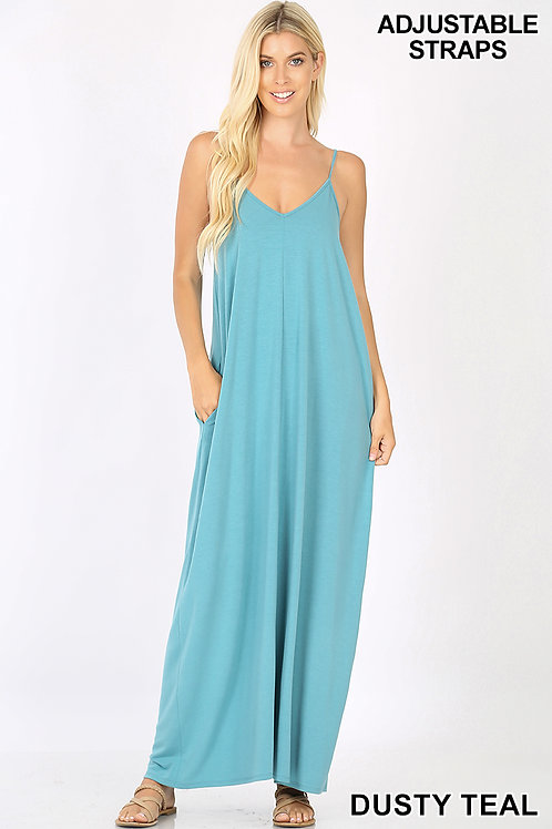 dusty teal maxi dress