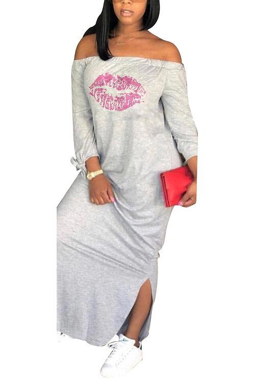 grey off the shoulder dress