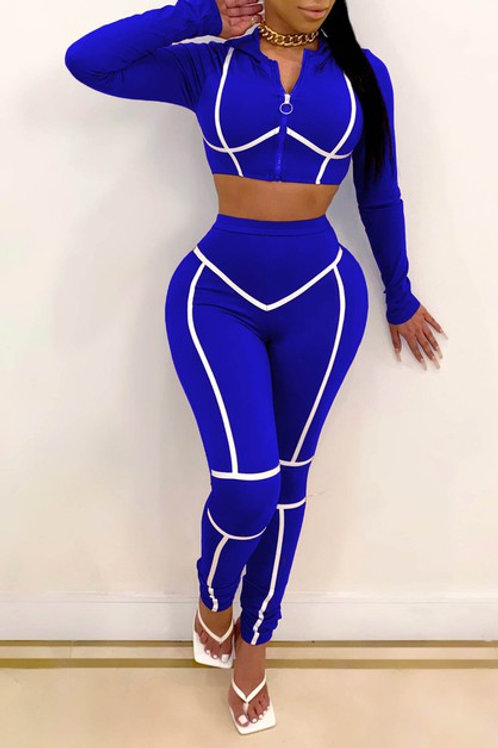 blue and white pant set