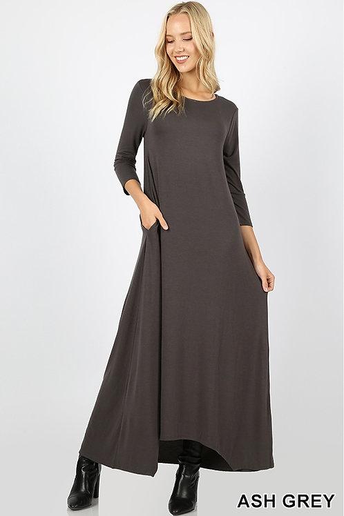 Ash grey full length dress