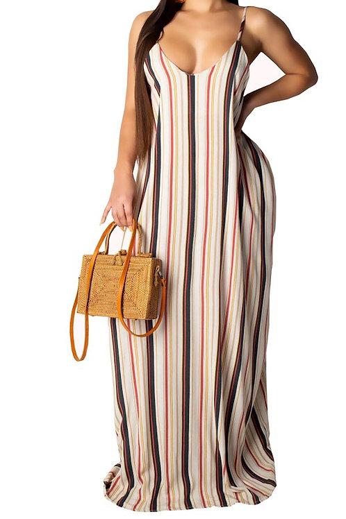 brown stripe maxi dress