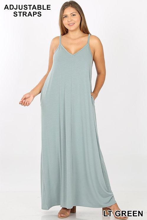 Light green plus maxi dress