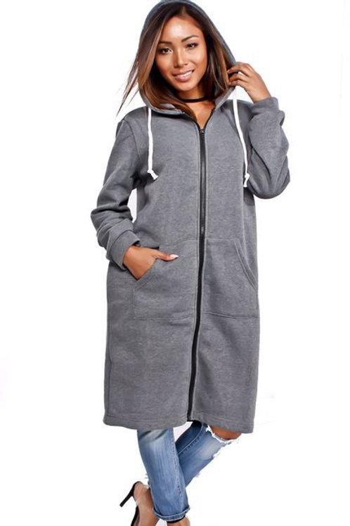 Charcoal zipper hoodie dress