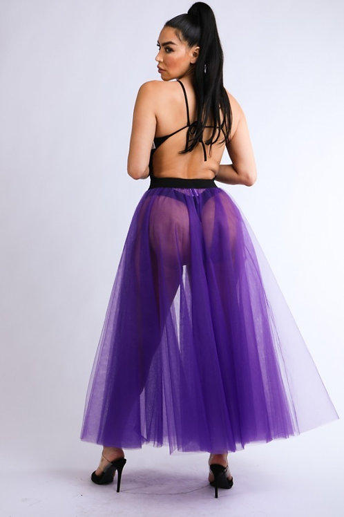 Purple belted tutu skirt