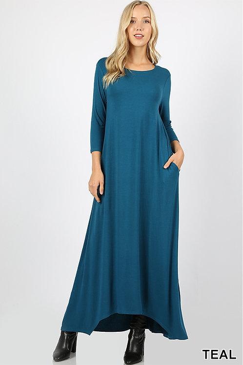 Teal full length dress