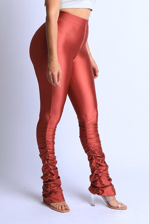 rust metallic pants