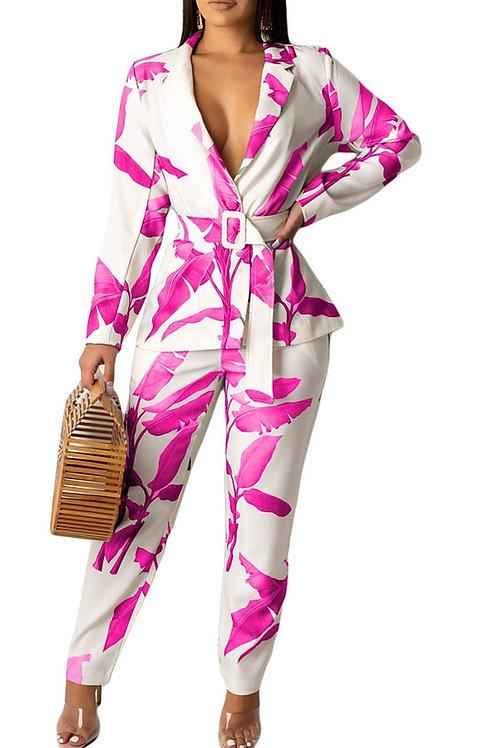 Pink and white pant set