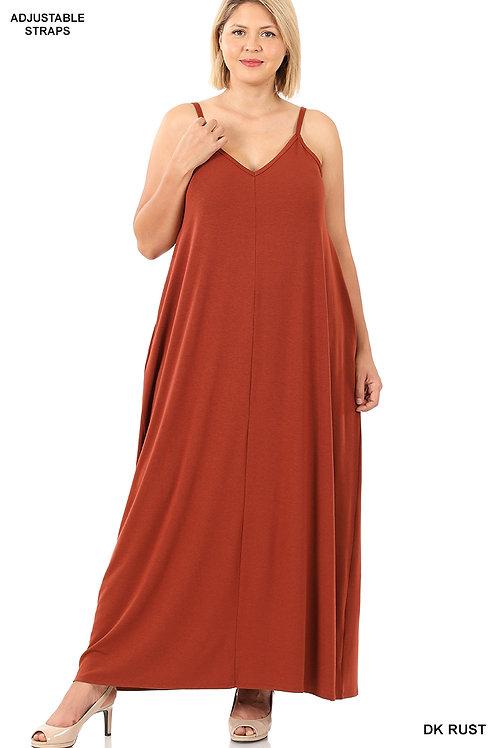 Dark rust maxi dress