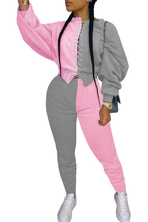 Pink and grey pant set