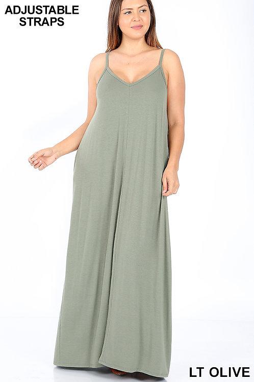 light olive plus maxi dress