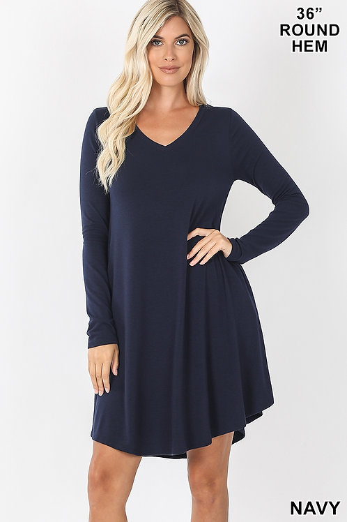 Navy short dress with pockets