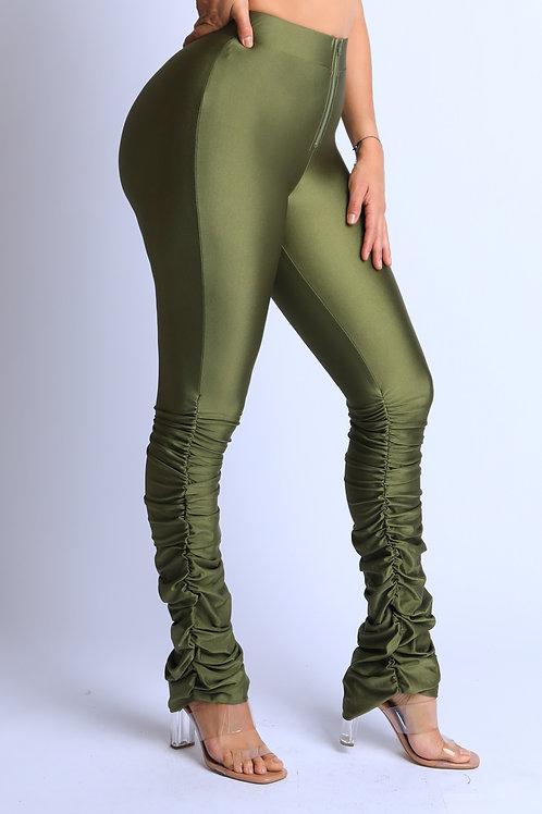 green metallic pants