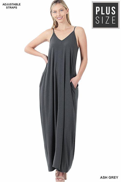 ash grey plus maxi dress