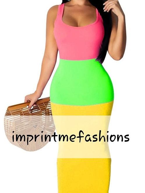 3 color neon dress