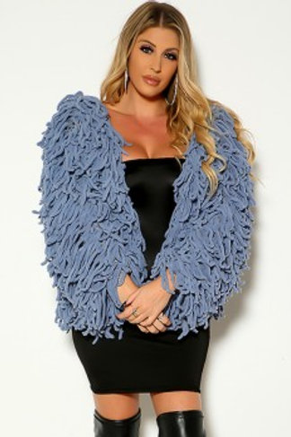 blue shaggy sweater