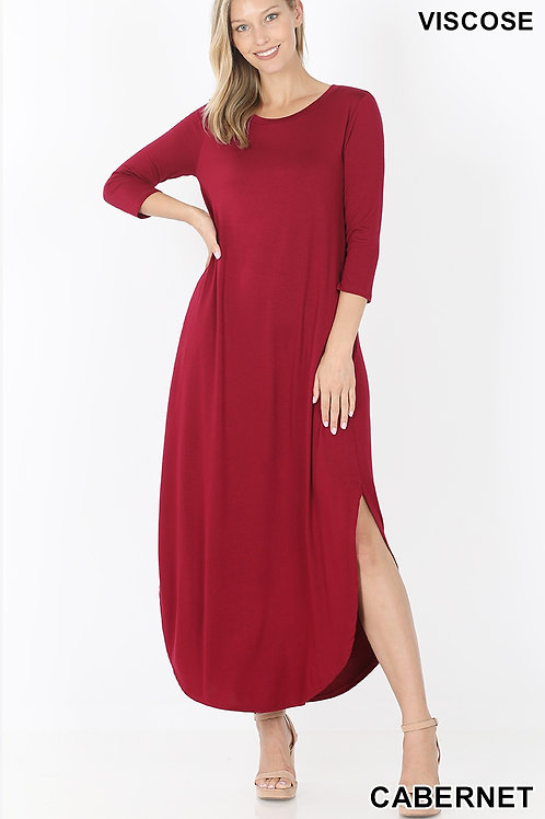 carbernet long dress with pockets