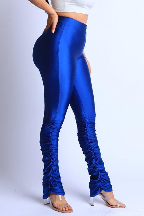 blue metallic pants