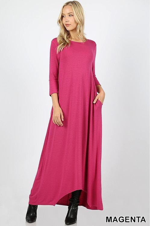 Magenta full length dress