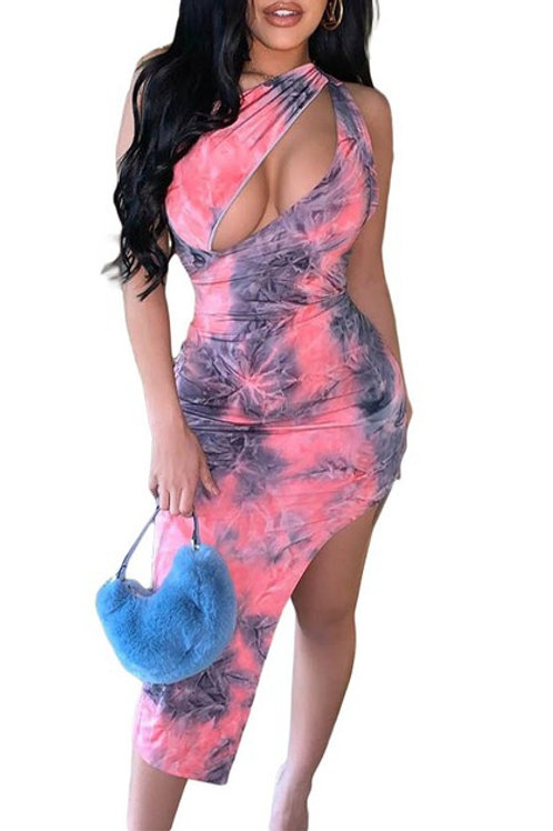 pink tie dyed dress