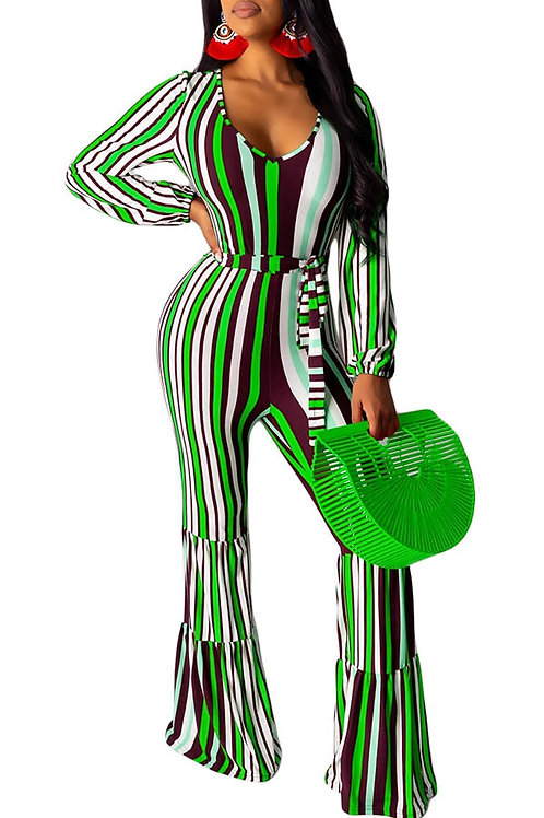 green stripped jumpsuit