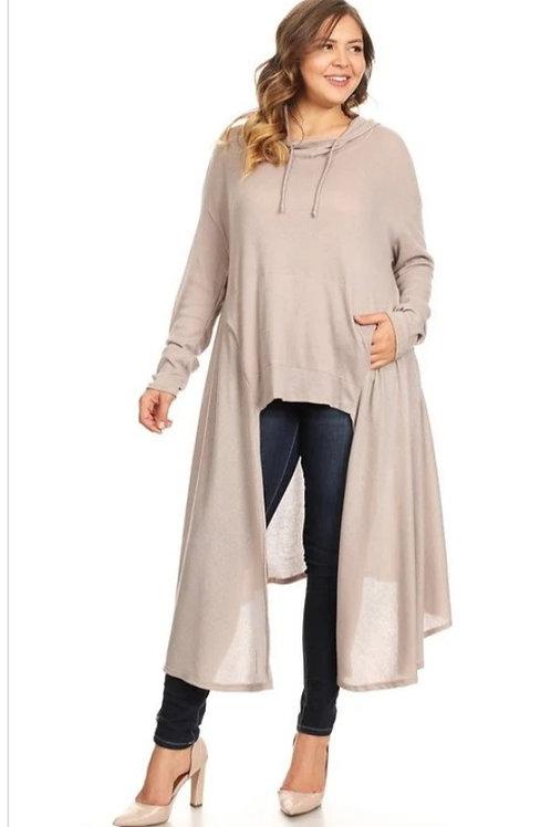 Plus beige hoodie dress