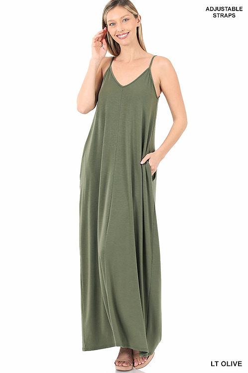 light olive maxi dress