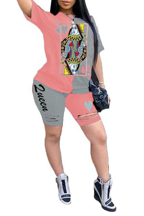 pink queen pant set