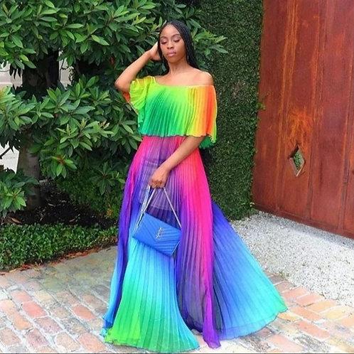 multicolor off the shoulder dress