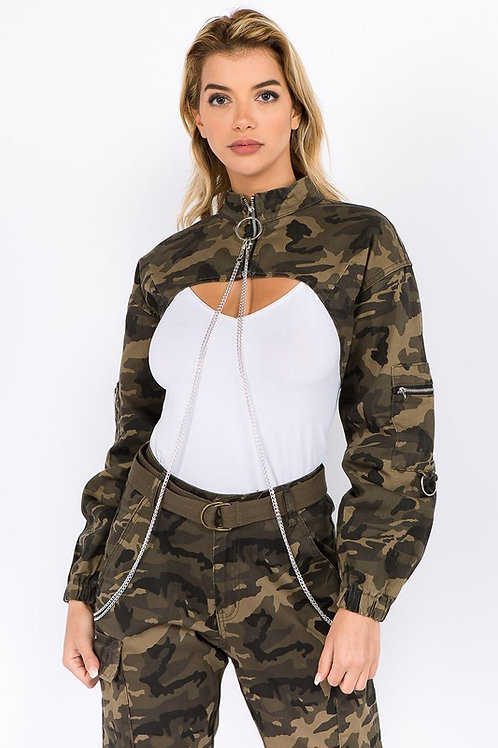 camo jacket with chain