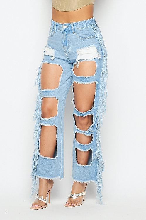 fringed jean pants